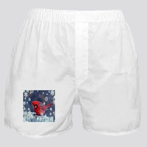 winter snow red cardinal Boxer Shorts