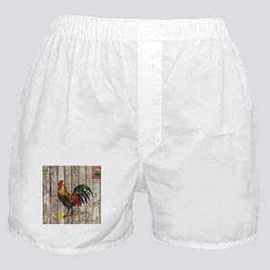 rustic farm country rooster Boxer Shorts