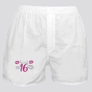 Sweet Sixteen 16 Birthday Glitter Lip Boxer Shorts