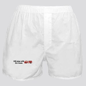 Still plays with fire trucks Boxer Shorts