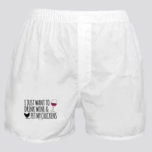 Drink Wine & Chickens Boxer Shorts