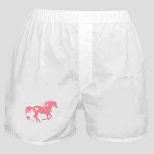 Pink Galloping Heart Horse Boxer Shorts