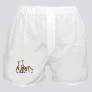 Giraffe Family Portrait in Browns and Beige Boxer
