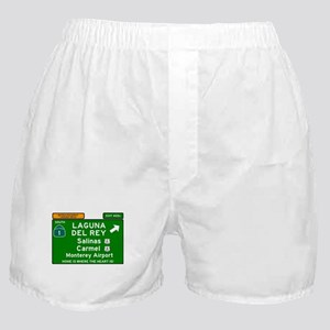 HIGHWAY 1 SIGN - CALIFORNIA - CARMEL Boxer Shorts