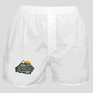 Everythings better on a mountain. Boxer Shorts