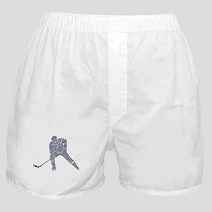 Hockey Player Typography Boxer Shorts