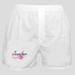 Jennifer Artistic Name Design with Fl Boxer Shorts