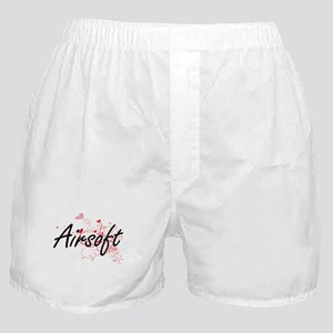 Airsoft Artistic Design with Hearts Boxer Shorts