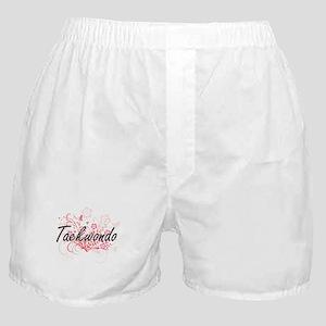 Taekwondo Artistic Design with Flower Boxer Shorts