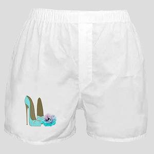 Turquoise Lace Stilettos and Rose Art Boxer Shorts