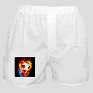 Flaming Football Ball Boxer Shorts