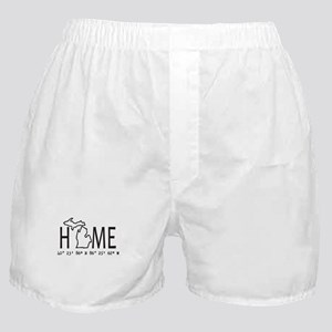 Michigan is My Home Coordinates Personalized Boxer