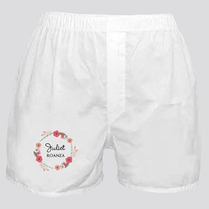 Flower Wreath Name Monogram Boxer Shorts