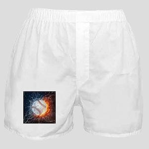 Baseball Ball Flames Splash Boxer Shorts