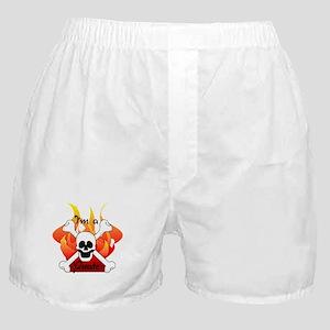 Flames Skull and Crossbones Boxer Shorts