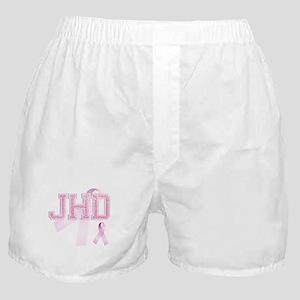 JHD initials, Pink Ribbon, Boxer Shorts