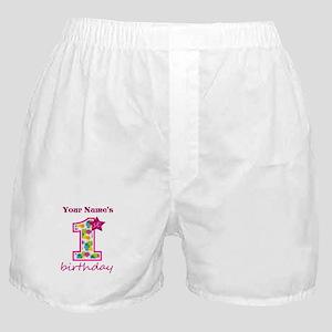 1st Birthday Splat - Personalized Boxer Shorts