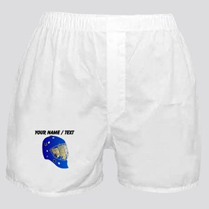 Custom Blue Goalie Helmet Boxer Shorts