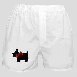 Scottie dog with bow Boxer Shorts