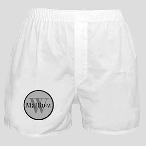 Gray Name and Initial Monogram Boxer Shorts
