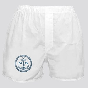 Anchor, Nautical Monogram Boxer Shorts
