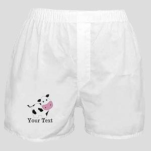 Personalizable Black White Cow Boxer Shorts