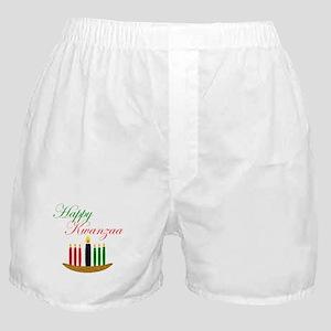 Elegant Happy Kwanzaa with hand drawn kinara Boxer