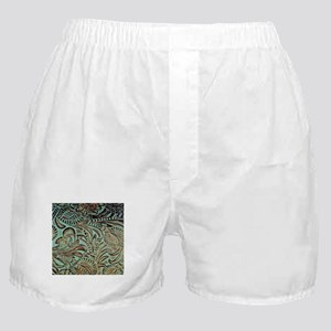 Western country Turquoise leather Boxer Shorts