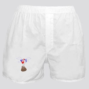 Poop Emoji Flying With Balloons Boxer Shorts