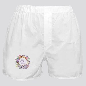Custom Text Floral Wreath Boxer Shorts