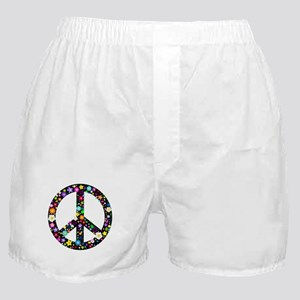 Hippie Flowery Peace Sign Boxer Shorts