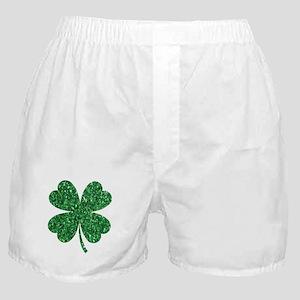 Green Glitter Shamrock st. particks I Boxer Shorts