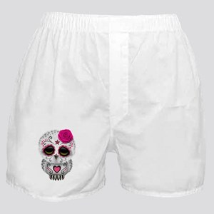 Pink Day of the Dead Sugar Skull Owl Boxer Shorts