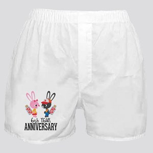 6th Anniversary Couple Bunnies Boxer Shorts
