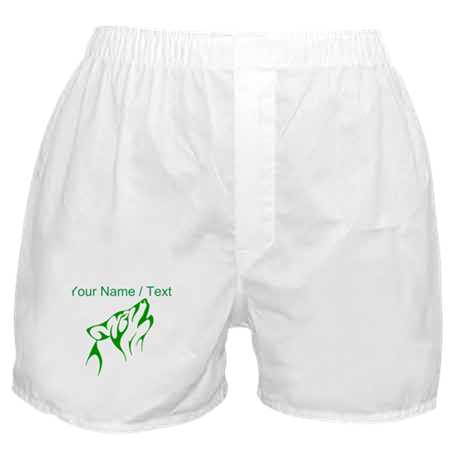 Custom Green Howling Coyote Boxer Shorts