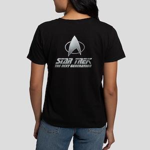 8d1220e9 Star Trek TNG Text silver 2 Women's Dark T-Shirt