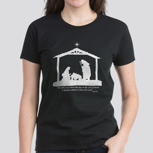 Nativity Scene (Luke 2:11) Women's Dark T-Shirt