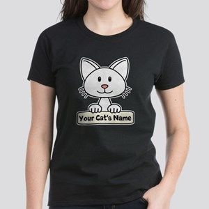 Personalized White Cat Women's Dark T-Shirt