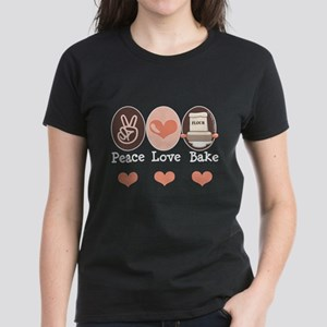 Peace Love Bake Bakers Baking Women's Dark T-Shirt