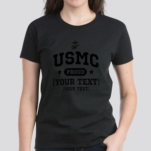 PERSONALIZE USMC Family Women's Dark T-Shirt