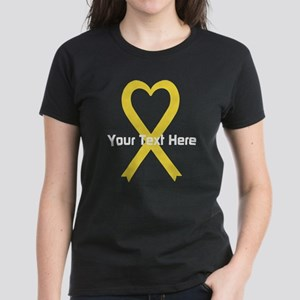 Personalized Yellow Ribbon He Women's Dark T-Shirt
