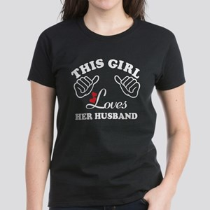 this girl loves her husband Women's Dark T-Shirt