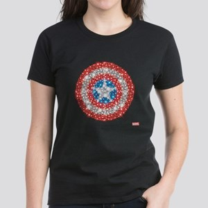 Captain America Shield Bling Women's Dark T-Shirt