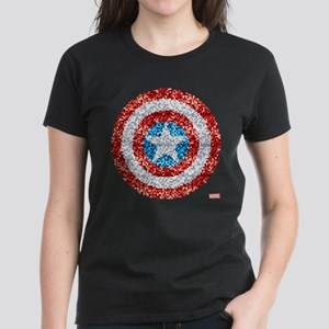 Captain America Pixel Shield Women's Dark T-Shirt