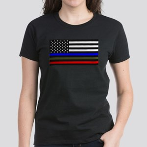 Thin Blue Line Decal - USA Flag Red, Blue T-Shirt