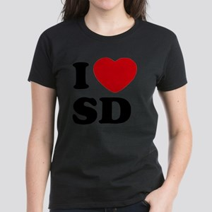 I Love SD Large Women's Dark T-Shirt