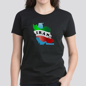 Iran Map with Flag Women's Dark T-Shirt