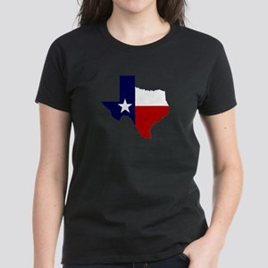 Texas Flag on Texas Outline Women's Dark T-Shirt