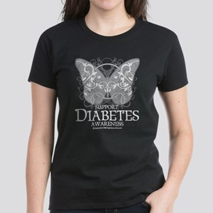 Diabetes Butterfly Women's Dark T-Shirt