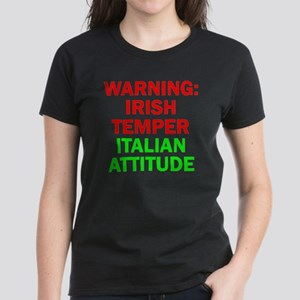 WARNINGIRISHTEMPER ITALIAN AT Women's Dark T-Shirt